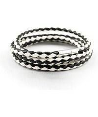 Lodestar Kožený pletený náramek - černo-bílý