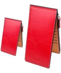 Polo Videng Heng dlouhá kožená peněženka červená