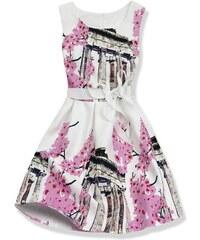 Bílo růžové šaty 1078