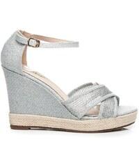 SEASTAR Stříbrné sandály espadrilky na klínku