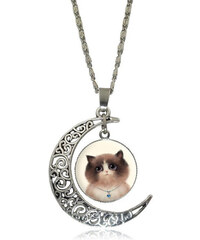 Lesara Halskette mit Halbmondanhänger & Katzen-Medaillon - Weiß