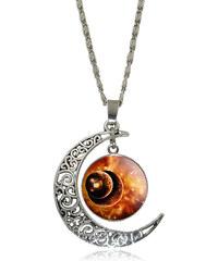Lesara Halskette mit Halbmondanhänger & Weltraum-Motiv - Orange