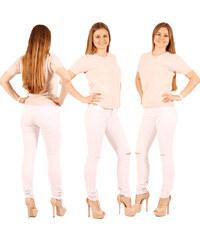 Lesara Skinny-Jeans mit Knie-Cut-Outs - Weiß - 34
