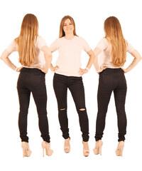 Lesara Skinny-Jeans mit Knie-Cut-Outs - Schwarz - 34