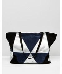 ASOS - Cabas patchwork avec daim et effet métallisé - Bleu