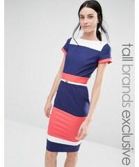 Paper Dolls Tall - Robe fourreau color block à manches courtes et ceinture - Multi