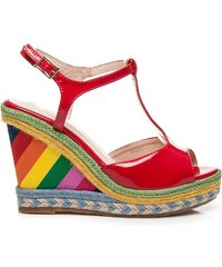 LAURA MODE Lakované červené sandály RAINBOW