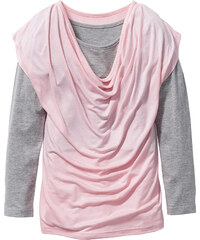 bpc bonprix collection T-shirt manches longues double épaisseur avec encolure bénitier, T. 116/122-164/170 rose enfant - bonprix