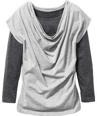 bpc bonprix collection T-shirt manches longues double épaisseur avec encolure bénitier, T. 116/122-164/170 gris enfant - bonprix