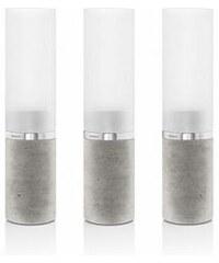 Set 3 ks svícnů na čajovou svíčku Faro, beton, sklo