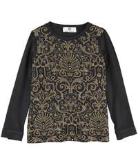 Young Versace Top aus Seiden-Voile mit Strass-Dekoration und Viskose-Jersey