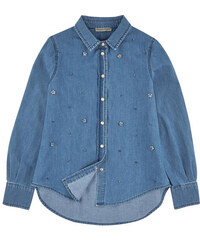 Ermanno Scervino Junior Chambray shirt with pearls - Stone-washed blue