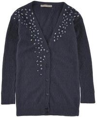 Ermanno Scervino Junior Marineblaue Strickjacke mit V-Ausschnitt aus Angora und Wolle