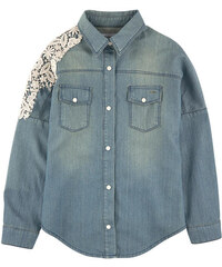Pinko Up Jean-like chambray shirt with lace
