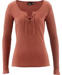 bpc bonprix collection Rippshirt mit Schnürung langarm in braun für Damen von bonprix
