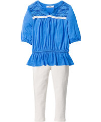 bpc bonprix collection Tunika mit Spitze+Leggings (2-tlg.), Gr. 80-134 3/4 Arm in blau für Mädchen von bonprix