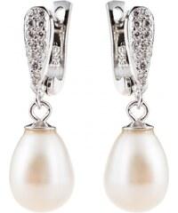 Meucci Elegantní stříbrné visací náušnice s perlou a zirkony