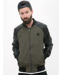Urban Classics Cotton Bomber Leather Imitation Sleeve Jacket Olive Black TB1163