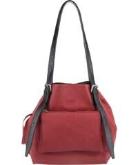MM6 Sacs à Bandoulière, Perforated Leather Shopper Red Medium en rouge