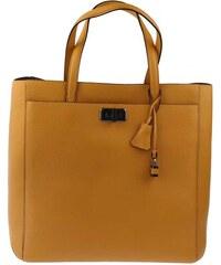 Luxusní kožená kabelka Delia-L 22, Braun Büffel, žlutá