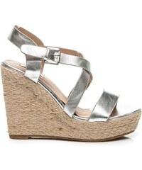 BELLUCCI Stříbrné sandály na plátěném klínku
