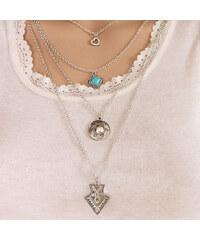 Lesara Viergliedrige Halskette mit echtem Türkis