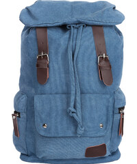 Lesara Canvas-Rucksack mit Schnallenriemen in Leder-Optik - Blau