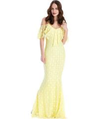 Goddess Dlouhé krajkové šaty CAMELLIA LEMON Barva: Žlutá,