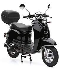 NOVA MOTORS SET: Motorroller inkl. Topcase Faltgarage Kettenschloss 49 ccm 45 km/h Venezia schwarz