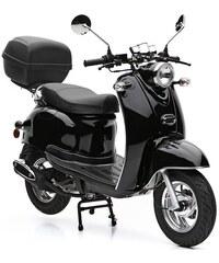 NOVA MOTORS SET: Mofaroller inkl. Topcase Faltgarage Kettenschloss 49 ccm 25 km/h Venezia schwarz