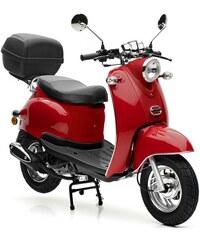 NOVA MOTORS SET: Motorroller inkl. Topcase Faltgarage Kettenschloss 49 ccm 45 km/h Venezia rot