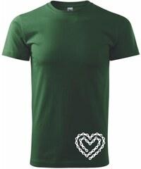 Myshirt.cz Cyklo srdce řetěz - Heavy new - triko pánské - XS ( Maskáčová/Lahvově zelená )