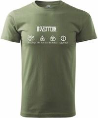 Myshirt.cz Led Zeppelin nápis - Heavy new - triko pánské - XS ( Khaki )