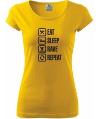 Myshirt.cz Eat sleep rave repeat - Pure dámské triko - XS ( Žlutá )
