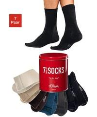 Große Größen: s.Oliver RED LABEL Bodywear Freizeit- und Businesssocken (7 Paar) in der Dose, braun + camel + beige + anthrazit + jeans meliert + 2x schwarz, Gr.31-34-47-48