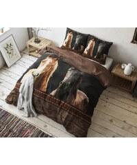 Sleeptime Parure housse de couette 200x200/220 cm + 2 taies d'oreiller 60x70 cm Horses - brun