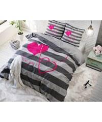 Sleeptime Parure housse de couette 200x200/220 cm + 2 taies d'oreiller 60x70 cm I Love You - anthracite