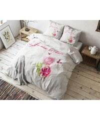 Sleeptime Parure housse de couette 140x200/220 cm + 1 taie d'oreiller 60x70 cm French Love - blanc