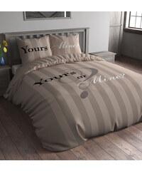 Sleeptime Parure housse de couette 140x200/220 cm + 1 taie d'oreiller 60x70 cm Yours or Mine - taupe