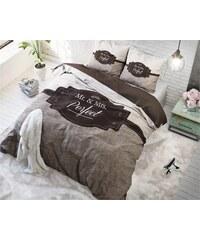 Sleeptime Parure housse de couette 140x200/220 cm + 1 taie d'oreiller 60x70 cm Perfect Couple - taupe