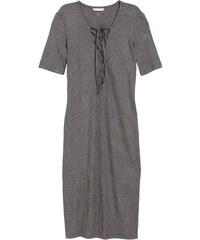 H&M Žebrované šaty se šněrováním