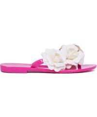 Lesara Gummi-Zehentrenner mit Blumen-Verzierung - Pink - 35
