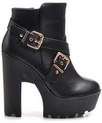KOI Parádní černé kotníčkové boty na platformě s přezkami