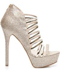 WILADY Třpytivé zlaté dámské sandály