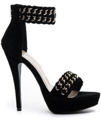 KOI Perfektní černé semišové sandále