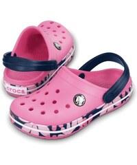 Crocs Dívčí sandály Crocband Tropic Flower - růžové