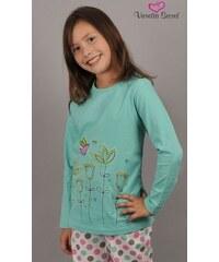 Vienetta Kids Dětské pyžamo dlouhé Květiny - tyrkysová
