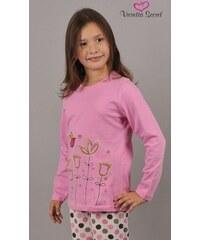Vienetta Kids Dětské pyžamo dlouhé Květiny - světle růžová