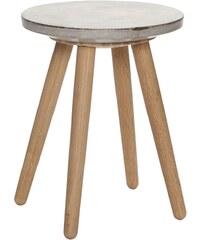 Hübsch Stolička s betonovým sedákem Oak/Concrete