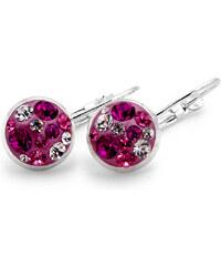 Naušnice GLUGIS - menší kulaté s růžovými kamínky